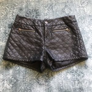 TCEC Black Faux Leather Quilted Shorts